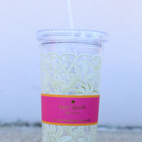Kate Spade New York Tumbler With Straw 20 oz - Daisy Lace