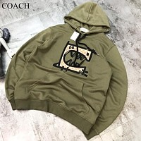 COACH New fashion embroidery pattern hooded couple long sleeve sweater top Army Green