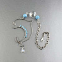Rear View Mirror Charm/Cute Wire Dolphin Silhouette w. Blue & Clear Crystals/Interior Auto Accessories/Dolphin Car Mirror Charm/Cute Dolphin