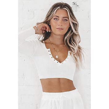 Trust My Intuition White Crop Top