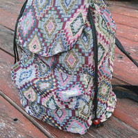 Tribal Backpack Boho Ikat Abstract Native Design Bags Ethnic Rucksack Hippie Folk Gypsy Handwoven Handmade Thai Tapestry Beach bag Purse Hip
