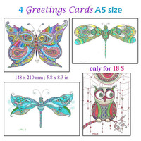 Owl Dragonflies Butterfly drawing Cards, Miniature Art, 4 Prints Cards A5, Nursery Baby room decor, Gift under 20, OOAK Greetings Cards