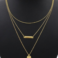 Coin And Bar Pendant Multirow Charm Necklace
