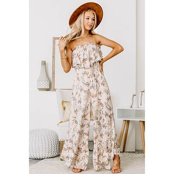 Ready For Vacay Strapless Floral Jumpsuit