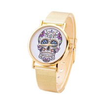 Womens Skull Punk Style Casual Sports Watches Girls Unique Gold Alloy Strap Wrist Watch Best Christmas Gift