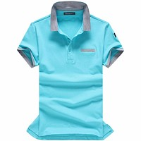 Polo shirt solid summer short sleeve turndown collar men polos