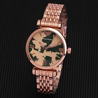 Emporio Armani New fashion dial camouflage couple quartz watch wristwatch Rose Gold