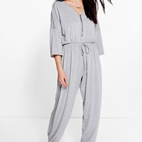 Ria Oversized Casual Zip Front Jersey Jumpsuit