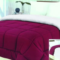 "Cozy Home 1-Piece Microfiber Reversible Solid Comforter - Twin - 66"" x 86"" - (Burgundy/White)"