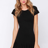 In the Pleat of the Moment Black Dress