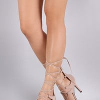 Suede Strappy Lace-Up Heel