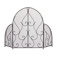 Black Scrollwork Fire Place Screen