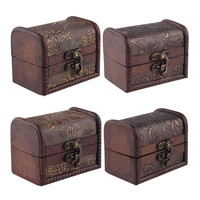 Stylish Vintage Metal Lock Jewelry Treasure Chest Case Manual Wood Box storage box Vintage Flower storage jewelry box