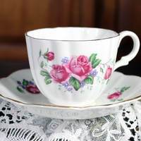 English Castle Teacup and Saucer - Pink Roses - Vintage Bone China Made in England 11942