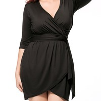 Casual Deep V-Neck Solid Tulip Plus Size Bodycon Dress