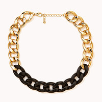 FOREVER 21 Street-Chic Colorblocked Necklace Black/Gold One