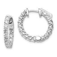 14k White Gold Real Diamond Round Hoop w/Safety Clasp Earrings