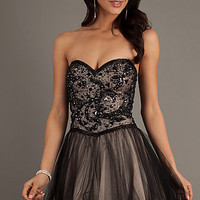 Short Beaded Black Dress by Dave and Johnny