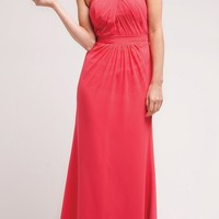 CLEARANCE - Coral Long Semi Formal Dress Chiffon Halter Strap Open Back (Size M, XL)