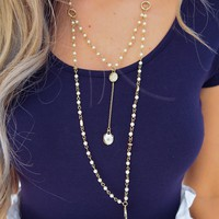 Close To My Heart Necklace: Gold/Pearl