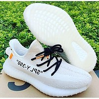 ADIDAS x Off White Yeezy Boost 350 V2 Fashion Woman Men Breathable Sport Sneakers Shoes 4#