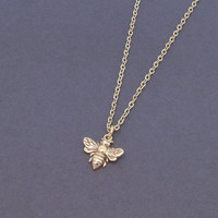 Cute Little Bronze Honey Bee Necklace Bumblebee Pendant Charm Insect Jewelry Minimalist Gold Plated Chain Bridesmaid Gift Small Tiny