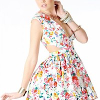 B6748 Cutout Floral Flared Dress and Shop Apparel at MakeMeChic.com
