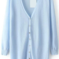 Blue V Neck With Buttons Long Sleeve Knit Cardigan