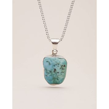 Turquoise Free Form Pendant Necklace - One Of A Kind