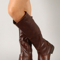 Women's Elastic Back Round Toe Riding Knee High Boot