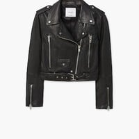 Leather biker jacket - Women | MANGO USA