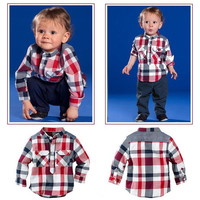 Boys 2 PC Set Plaid Shirt Pants