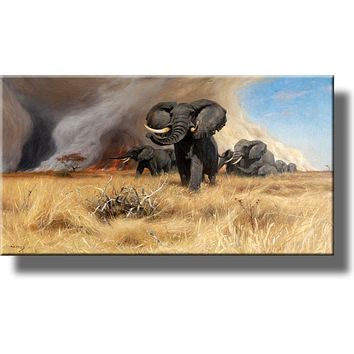 African Elephants Running from Fire Picture by Kuhnert on Stretched Canvas, Wall Art Décor, Ready to Hang!