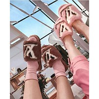 Louis Vuitton LV Printed matching letters flat-soled household open-toed slippers-2