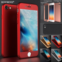 Roybens Luxury Coverage of 360 Degree Hard PC Case For iPhone 7 iPhone 7 Plus Ultra Slim Plating Full Back Cover + Glass Film