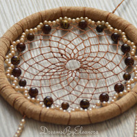 Light Brown dream catcher with Tigers Eye gemstone beads, Beige dream catcher