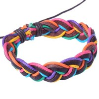 Rainbow Twined Rope Handmade Leather Bracelet for Men or Women