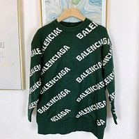 Balenciaga knitted letters men's and women's round neck sweater