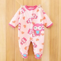 Owl Print Fleece Newborn Baby Girl Overalls Romper Macacao Bebe Body Baby Rompers New Born Baby Clothes, Size 3-12M