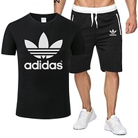 ADIDAS tide brand men and women sports fitness running set two-piece Black