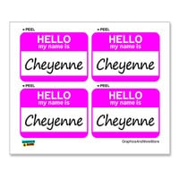 Cheyenne Hello My Name Is - Sheet of 4 Stickers