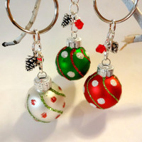 Glittery Christmas Tree Shatterproof Ornament Keychain Made With Red Swarovski Crystal Elements, Novelty Items, Gift Under 10