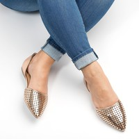 Perforated Leather D'Orsay Flats