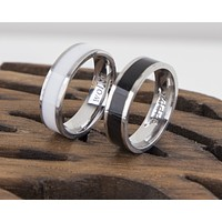 Couple Rings Black and White Personalized Couple