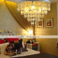 Chrome Finish Yellow Shell + Crystal Pendant Chandelier with 7 lights (K9 Crystal) - US$ 110.99