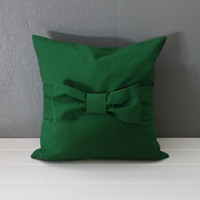 Christmas Green Bow Pillow: Modern Holiday Decor, Emerald Green Throw Pillow, Preppy Bedding, Oversized Bow Toss Pillow--16 x 16 inch square