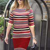 Striped Short Sleeve Knitted Bodycon Midi Dress