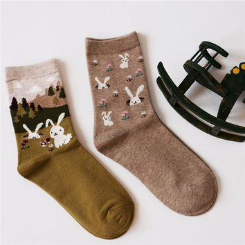 Girls Socks 2 Pair Rabbits cotton Cute Soft winter Spring