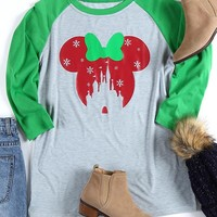 Snowflake Mouse Castle Baseball T-Shirt - Bellelily