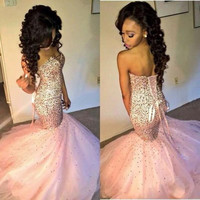 Sweetheart Pink Prom Dresses,Mermaid Floor Length Evening Dress,Evening Dresses